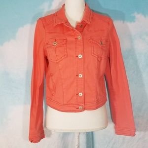 One World Cotton Stretch Orange Denim Jacket - Sm